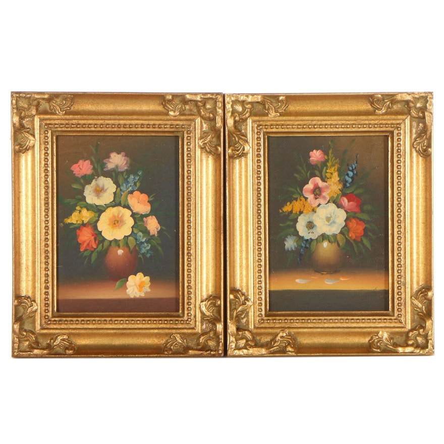 Still Life Oil Paintings of Flowers, Late 20th Century