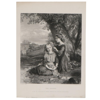 """Charles Cousen Engraving """"The Sisters,"""" 1867"""