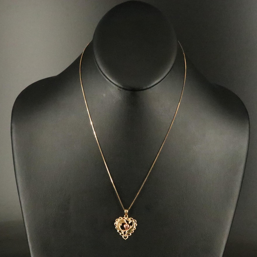 14K Dolphin and Heart Pendant Necklace