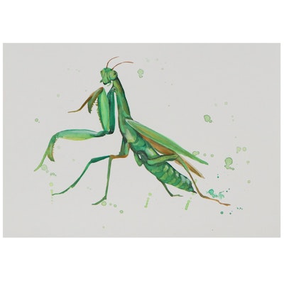Anne Gorywine Watercolor Painting of Praying Mantis, 2021