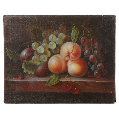 O. Viani Still Life Oil Painting of Fruits, Late 20th Century