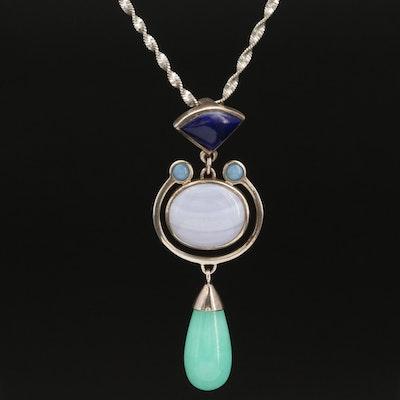Sterling Lace Agate, Sodalite and Quartzite Pendant Necklace
