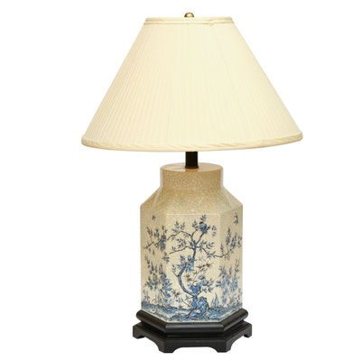 Chinese Crackle Glaze Hexagonal Table Lamp, Mid-20th Century