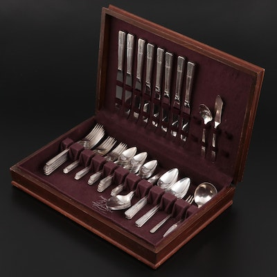"""Oneida """"Grenoble"""" Prestige Silver Plate Flatware and Serving Utensils with Case"""