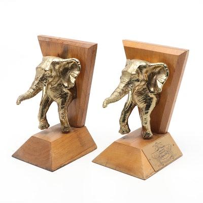 Mount Kenya Safari Club Cast Brass and Wood Elephant Bookends