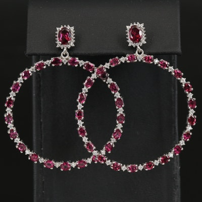 Sterling Rhodolite Garnet Drop Hoop Earrings