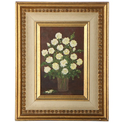L. Schafer Still Life Oil Painting of Flowers, 1971