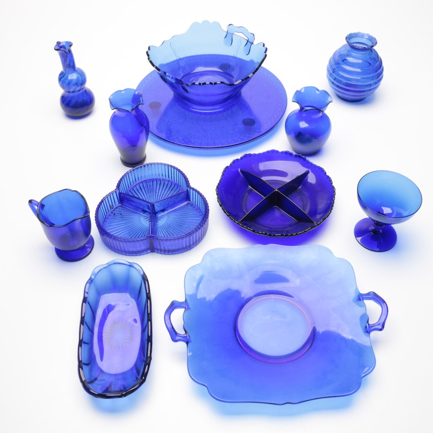 """L.E.Smith """"Mt Pleasant"""" and Other Cobalt Blue Glass Tableware, Vintage"""