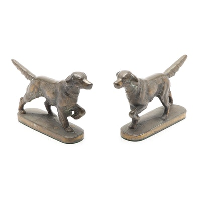 Pointer Dogs Cast Bronze Bookends