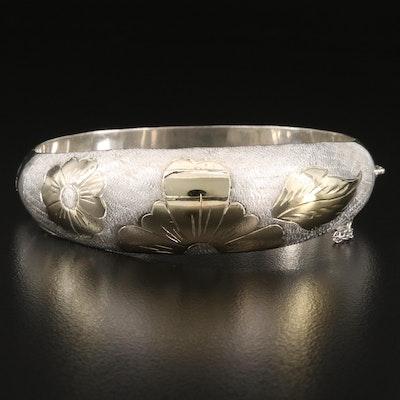 Tapered Bangle Bracelet with Floral Design