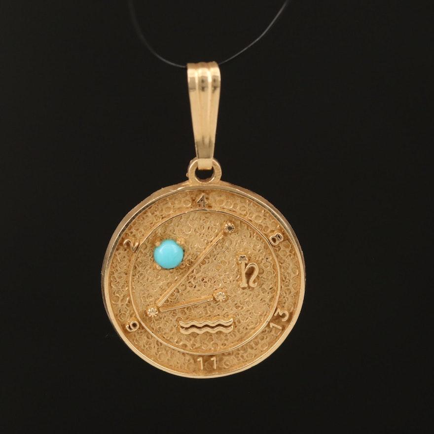 14K Aquarius Pendant with Imitation Turquoise