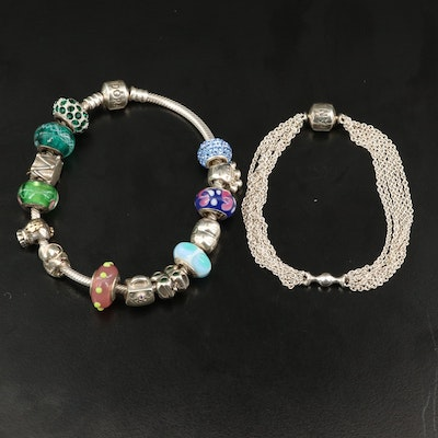 Pandora Sterling Silver Bracelets Featuring Pandora and Chamilia Beads