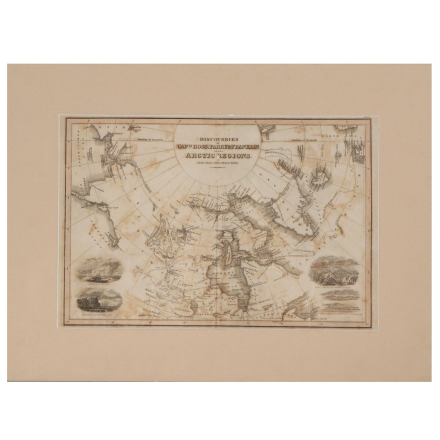 John Wyld Engraving Map of Arctic Regions, Circa 1829