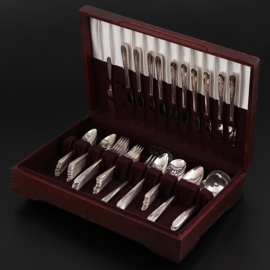"""Oneida """"Royal Rose"""" Nobility Silver Plate Flatware and Serving Utensils"""