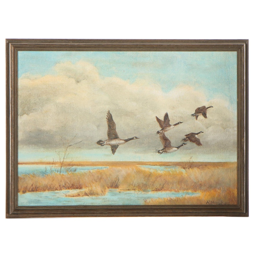 A. Hughes Oil Painting of Flying Geese, Late 20th Century