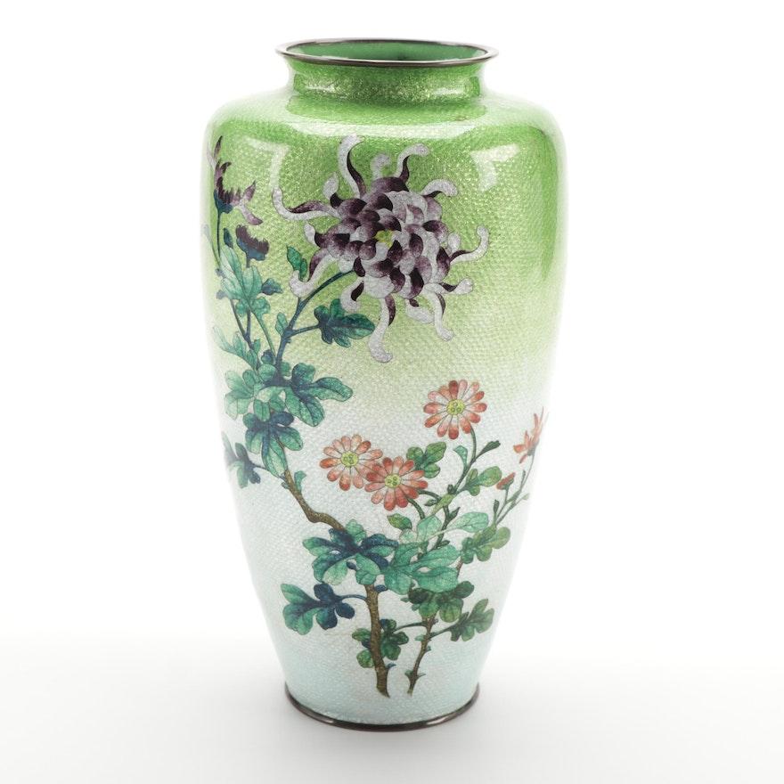 Japanese Ginbari Cloisonné Vase with Chrysanthemum and Floral Motif