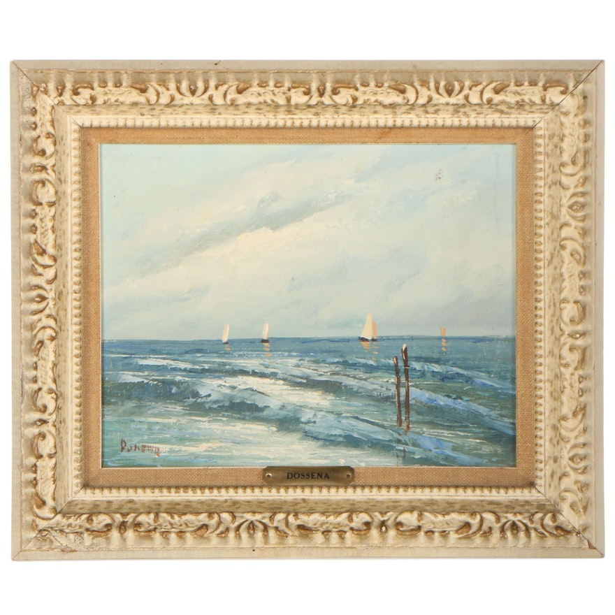 A. Dossena Seascape Oil Painting of Boats on the Ocean, Mid-20th Century