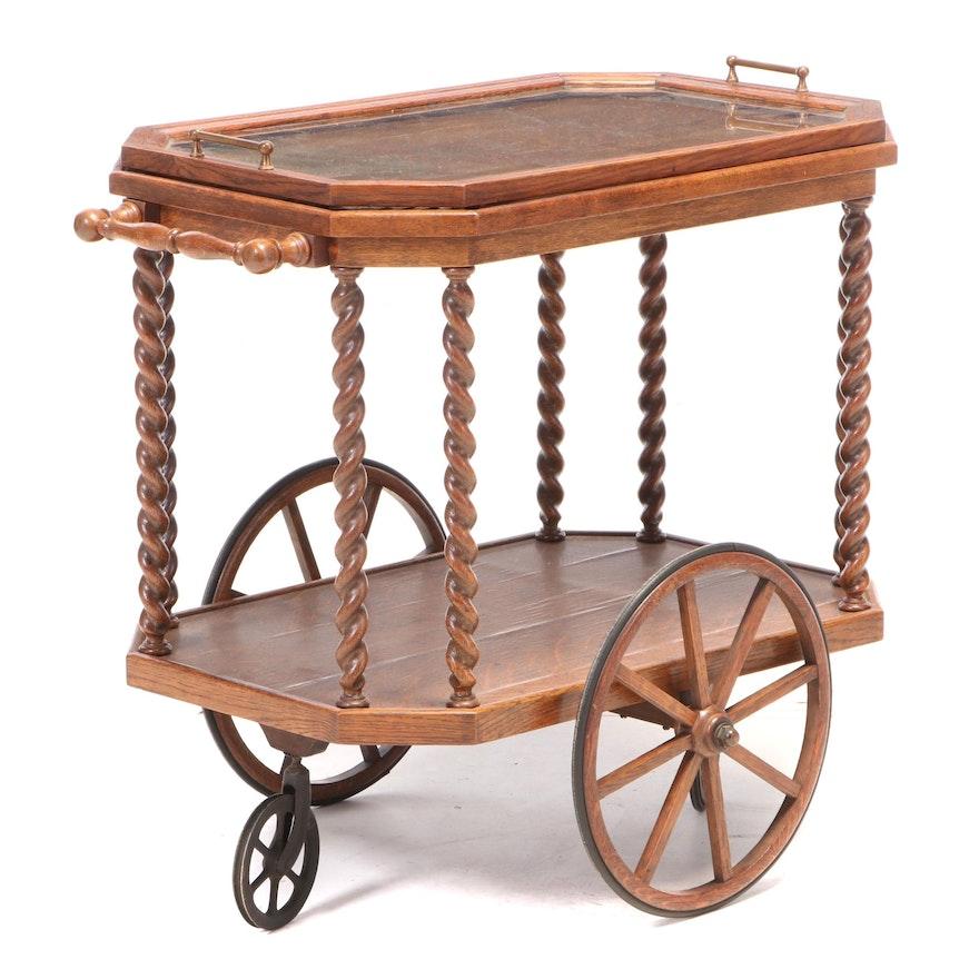 English Barley-Twist and Quartersawn Oak Tray-Top Tea Trolley