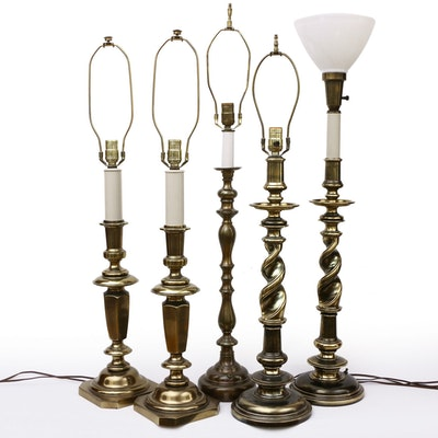 Stiffel and Other Pillar and Barley Twist Brass Table Lamps, Mid-20th C