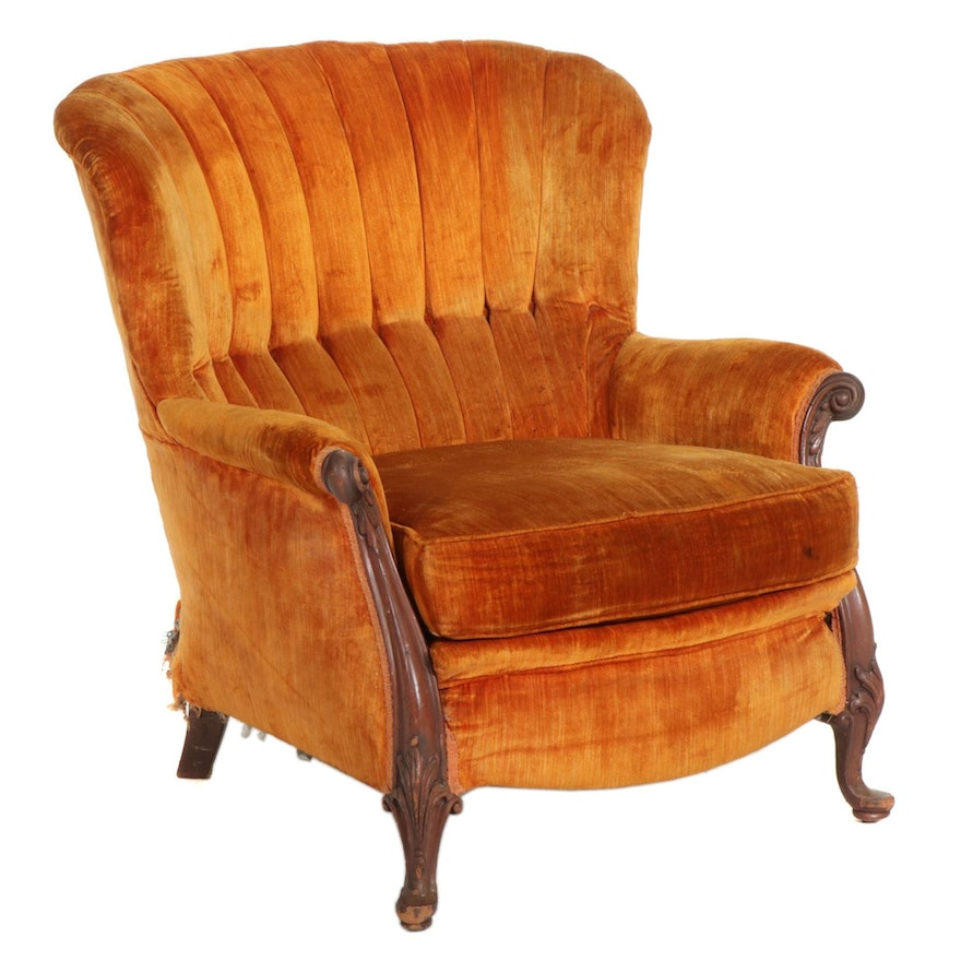 Victorian Walnut Fanback Armchair with Velour Upholstery, Early 20th Century