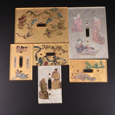 Chinese Reverse Painted Gold Thematic Light Switch Covers