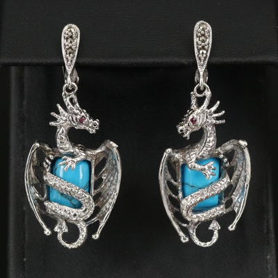 Sterling Faux Turquoise, Ruby and Marcasite Dragon Earrings