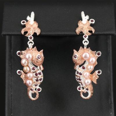 Sterling Rhodolite Garnet and Pearl Seahorse Earrings