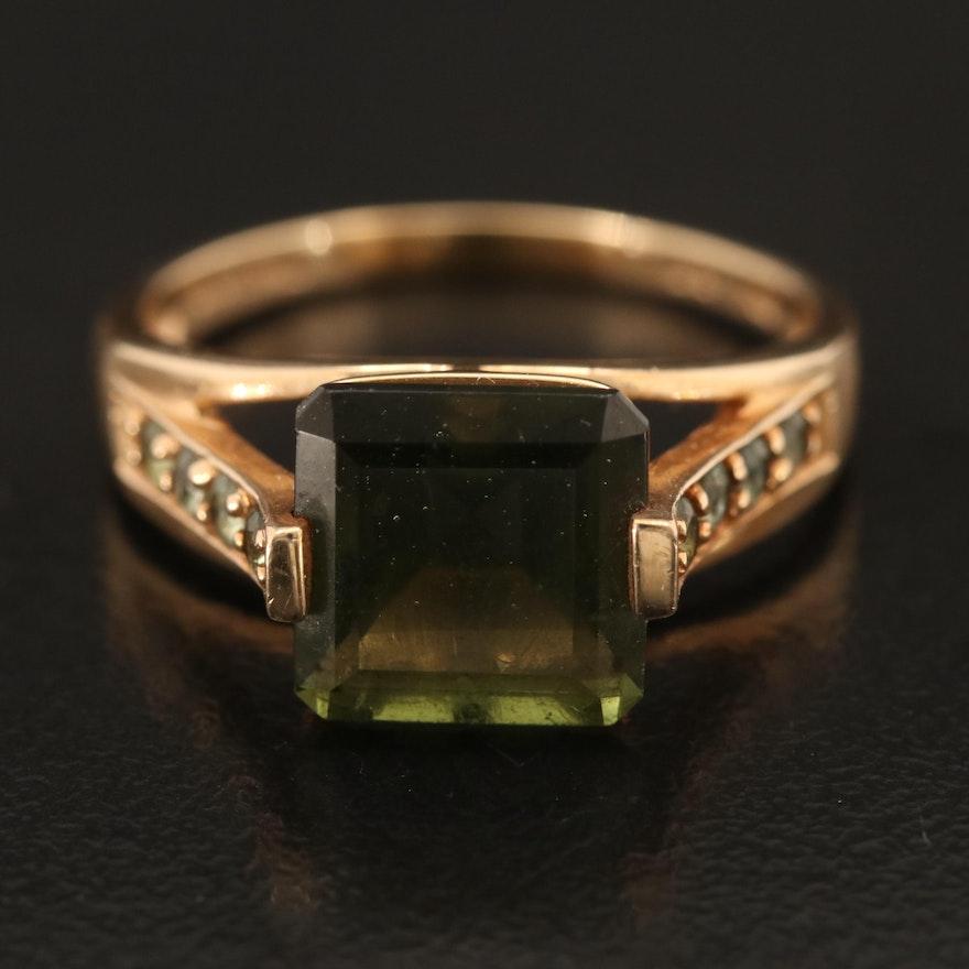 10K Moldavite and Topaz Ring