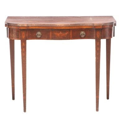 Federal Style Mahogany and Marquetry Extending Games and Dining Table