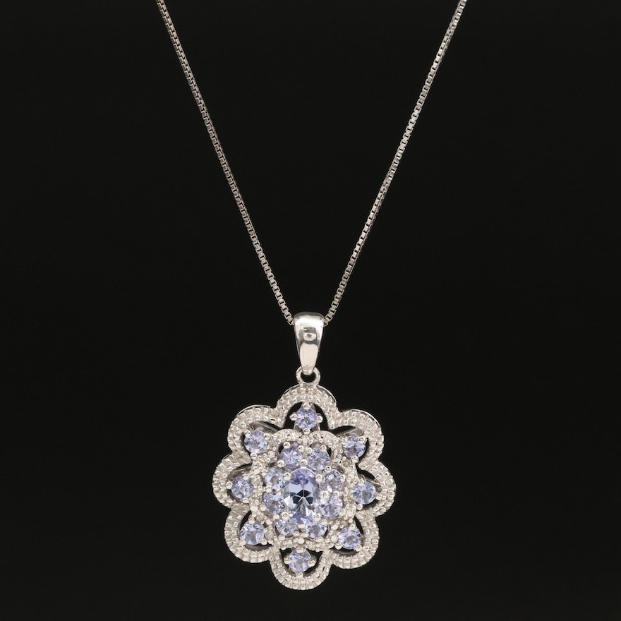 Sterling Tanzanite and Diamond Pendant on Italian Necklace with Scalloped Edge