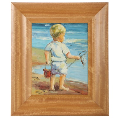Oil Painting of Boy at the Beach, Late 20th Century