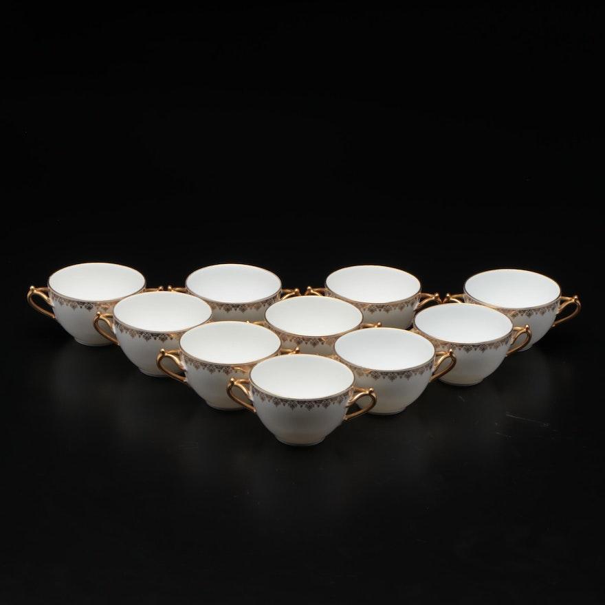 Delinieres & Co. Porcelain Bouillon Cups, Mid-20th Century