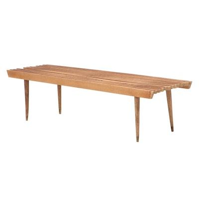 Mid Century Modern Slatted Beech Bench