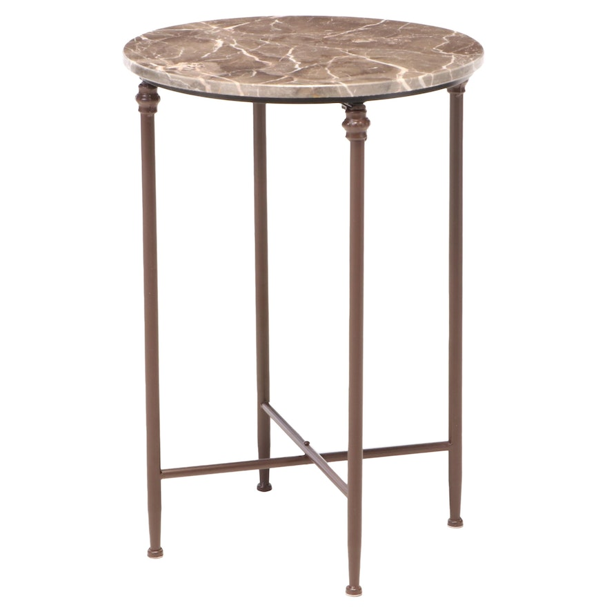 Painted Metal and Marble Top Side Table