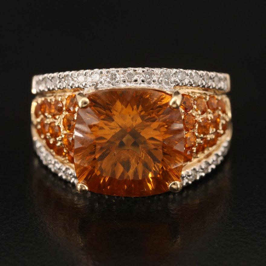 14K 7.40 CT Citrine and Diamond Ring