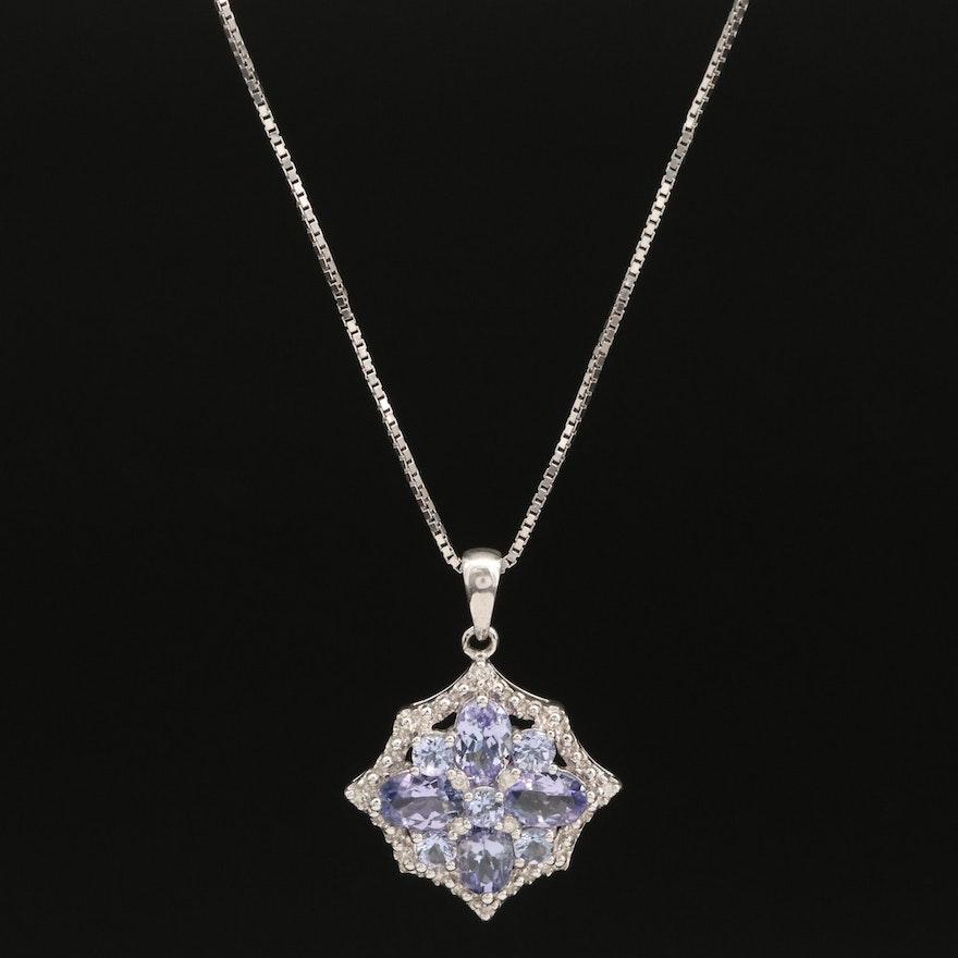 Sterling Silver Tanzanite and Diamond Pendant Necklace
