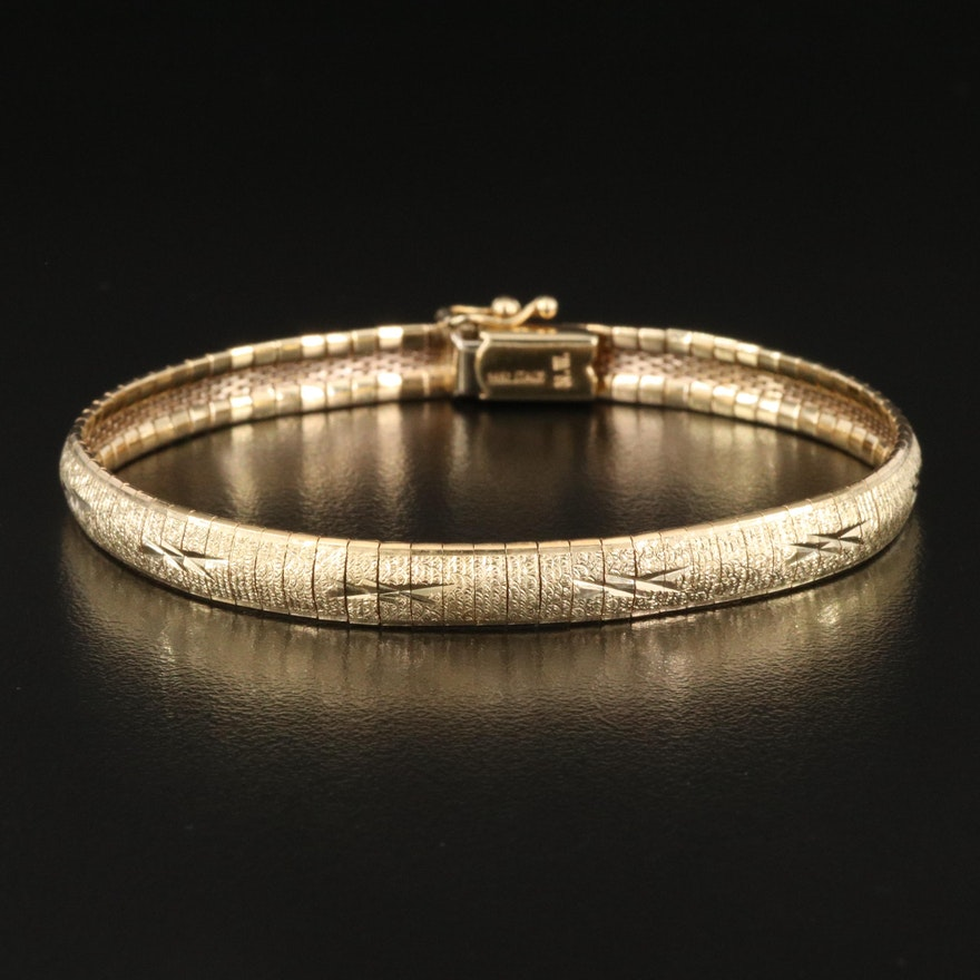 14K Textured Omega Chain Bracelet with Engraved Details