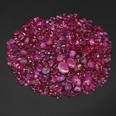 Loose 65.14 CTW Mixed Faceted, Oval Ruby and Tourmaline Cabochons
