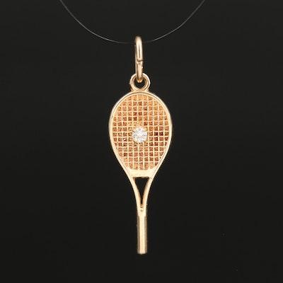 10K Diamond Tennis Racket and Ball Pendant