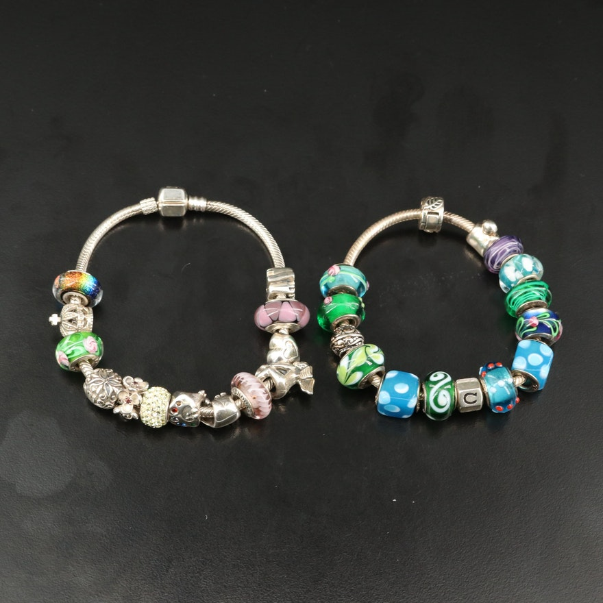 Chamilia Charm Bracelets Featuring Chamilia and Pandora Charms
