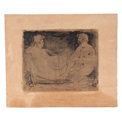 Ink Drawing of Resting Nudes, 1947