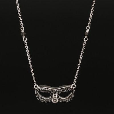 Sterling Black Diamond Mask Station Necklace