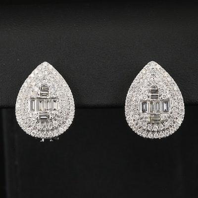 14K 2.26 CTW Diamond Teardrop Cluster Earrings