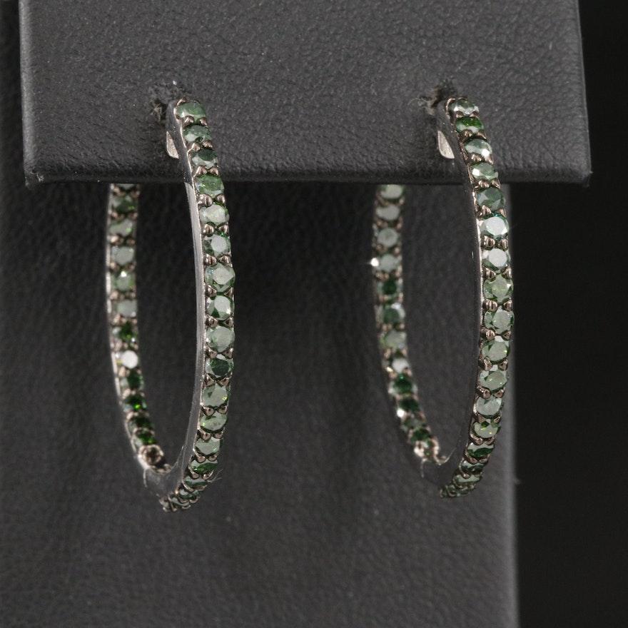 Sterling Silver 2.05 CTW Green Diamond Inside-Out Hoop Earrings