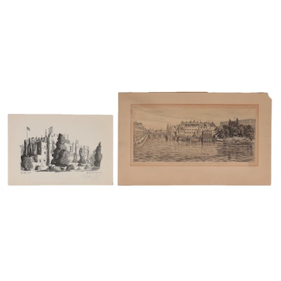 Landscape Drawing and Offset Lithograph
