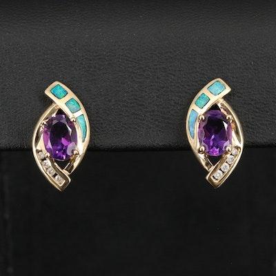 14K Amethyst, Diamond and Opal Earrings