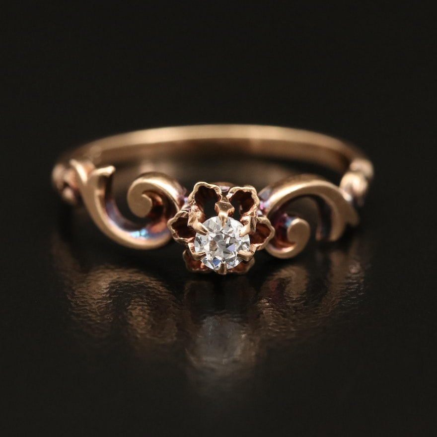 Circa 1920s J.R. Wood & Sons 14K 0.14 CT Diamond Solitaire Ring