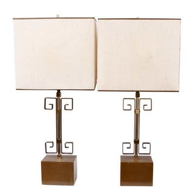 Pair of Mid Century Metal and Laminate Wood Table Lamps