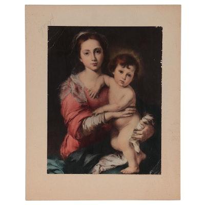 "Color Photogravure After Bartolomé Esteban Murillo ""Madonna and Child"""