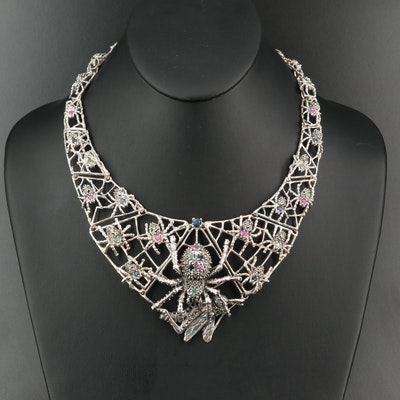 Sterling Silver Ruby, Emerald and Sapphire Spiders and Prey Bib Necklace